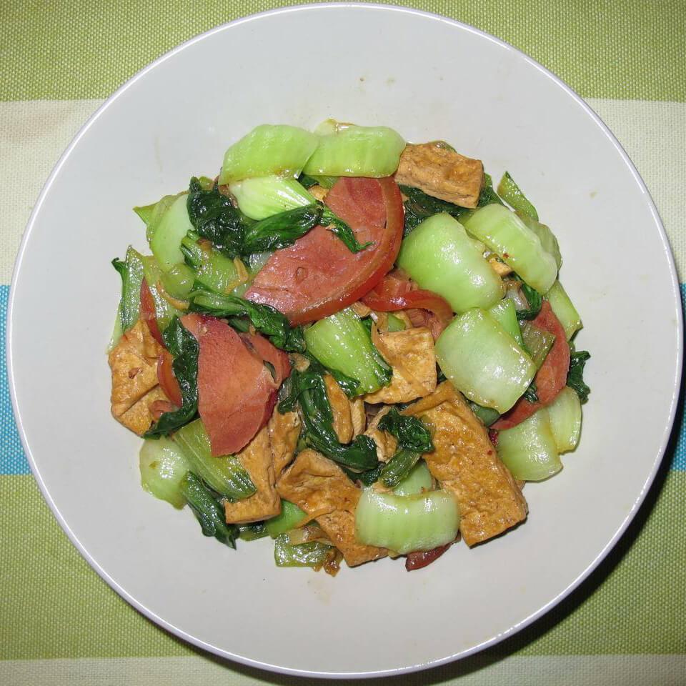 小油菜炒豆腐