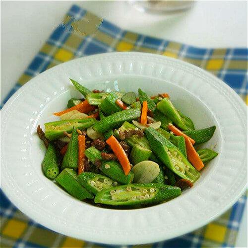 蚝油鸡丝炒秋葵