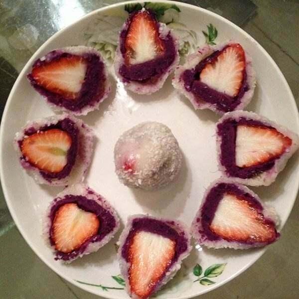 草莓紫薯大福