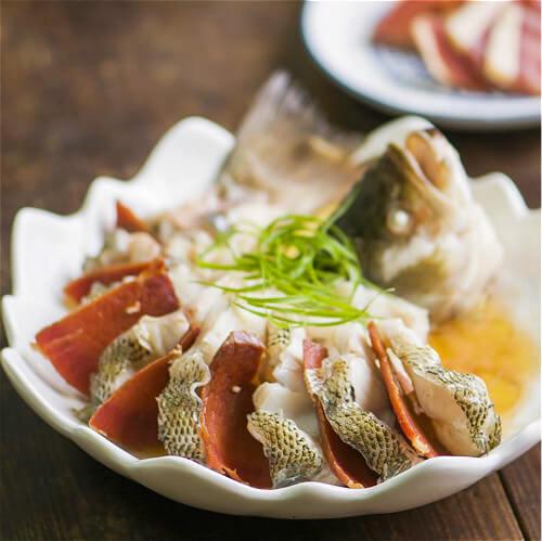 火腿蒸鲈鱼(原创)