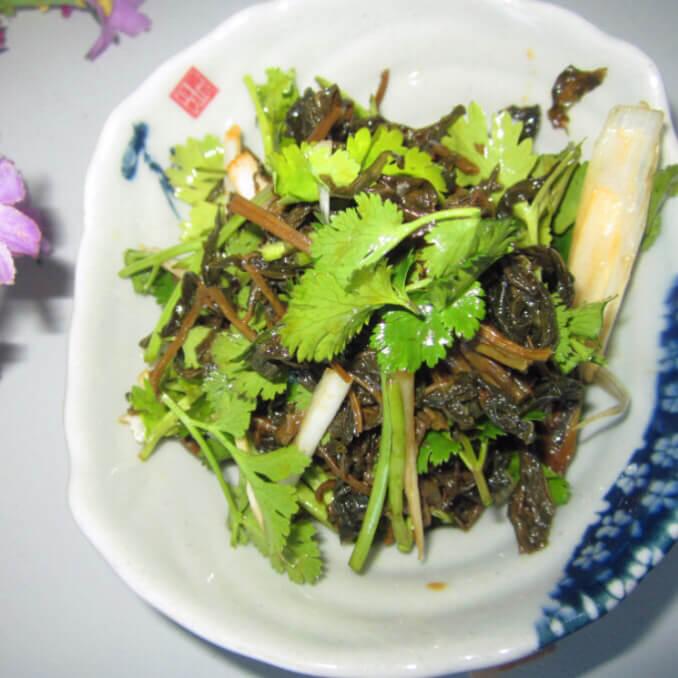 香菜葱白拌椿芽