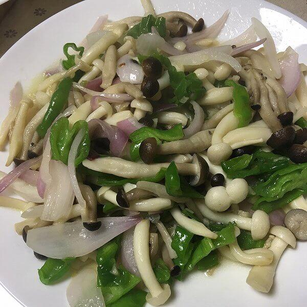 葱香炒双菇