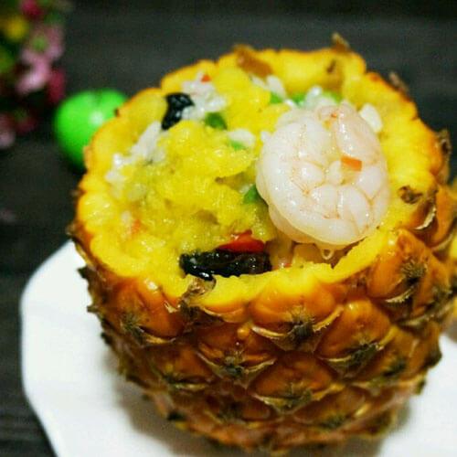 菠萝干贝什锦饭