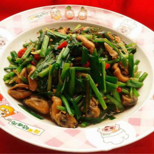 好吃的淡菜炒韭菜