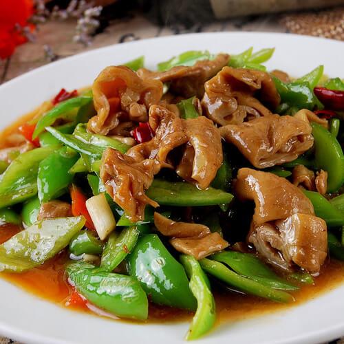 香菇豆芽炒肥肠