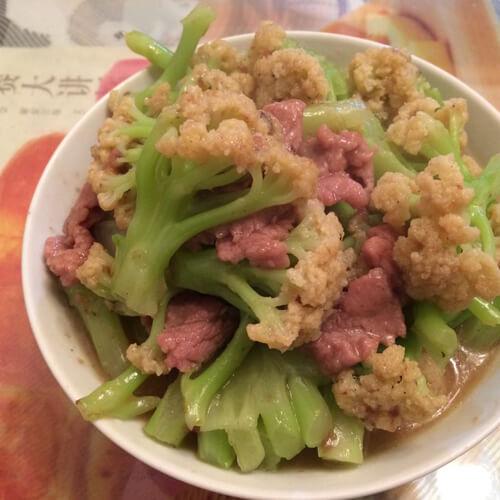 香菇菜花炒肉片