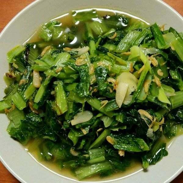 虾皮笋尖炒牛心菜