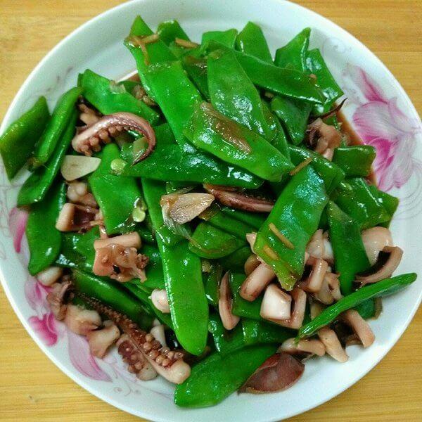 菇香荷兰豆炒鱿鱼