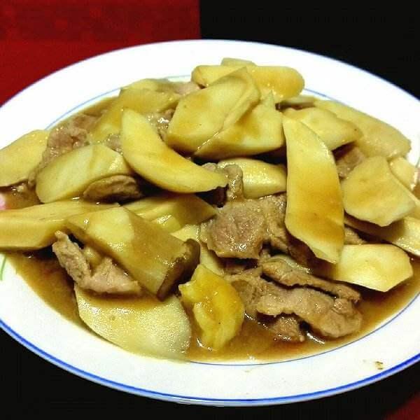 鸡腿菇菜心炒肉片