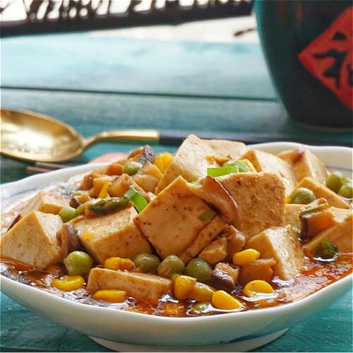 玉米炒豆腐