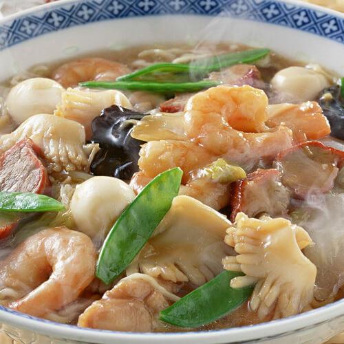 口蘑筒蒿海鲜汤