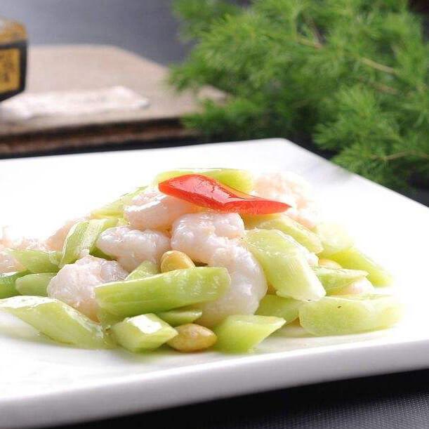 虾仁白果炒芹菜