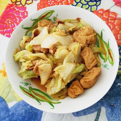 白菜炒卤豆泡