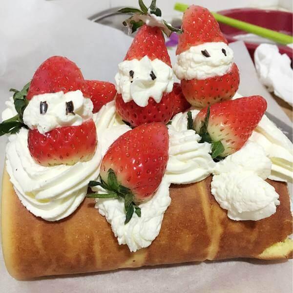 圣诞雪花蛋糕卷