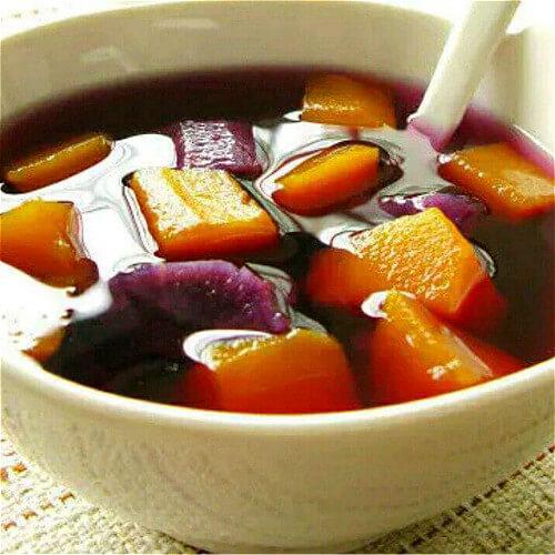 口感好的紫薯红糖疙瘩羹