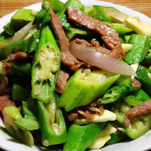 葱香秋葵炒牛肉