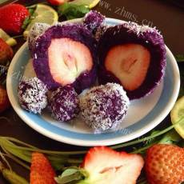 (懒人版)草莓紫薯大福