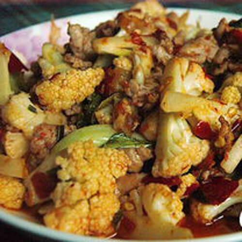 香辣花菜炒肉片