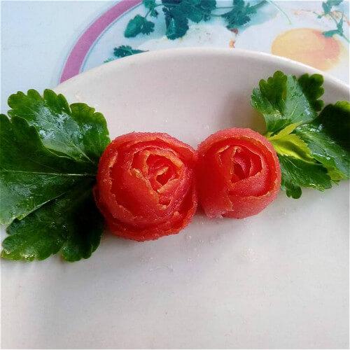 番茄玫瑰花 (盘边装饰)