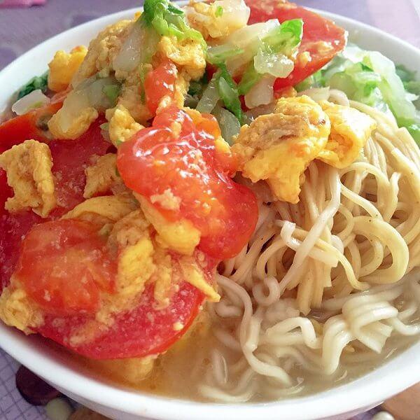 番茄海米鸡蛋面