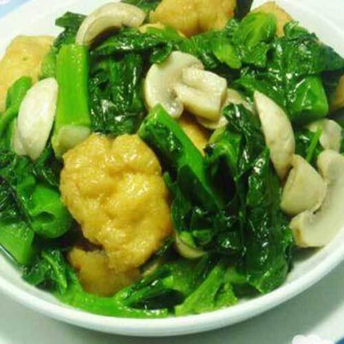 蘑菇油豆腐炒天菜芯