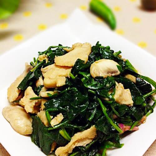 菠菜蘑菇炒鸡片