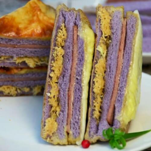 香芋火腿肉松三明治