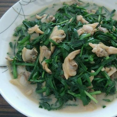 麻蚶子炒韭菜