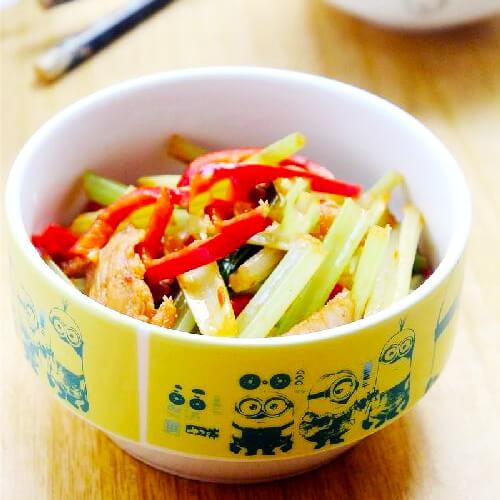 蒜苗香芹炒肉片