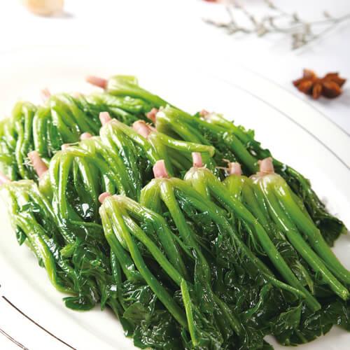 可口的蒜苗炒菠菜