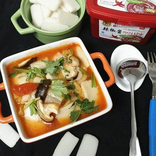 白菜香菇辣年糕汤
