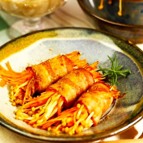 西葫芦胡萝卜培根卷