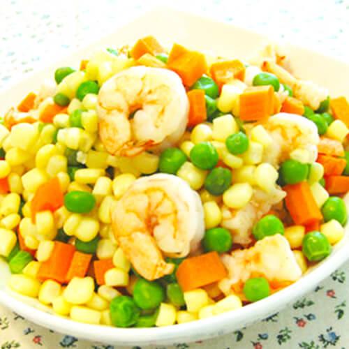 鸡蛋烩虾仁豌豆玉米粒