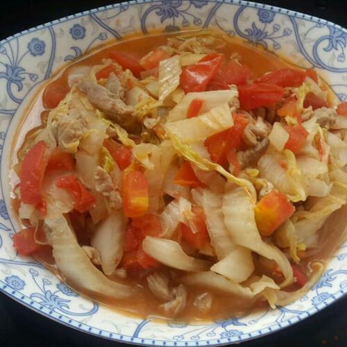 卷心菜炒西红柿