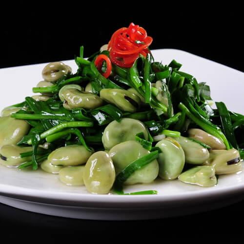 蚕豆炒韭菜