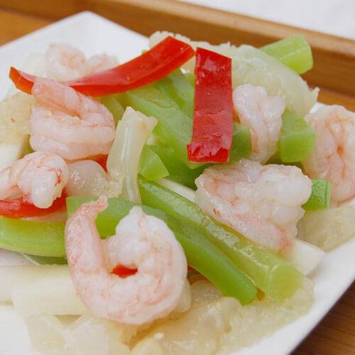蒜苔炒虾仁