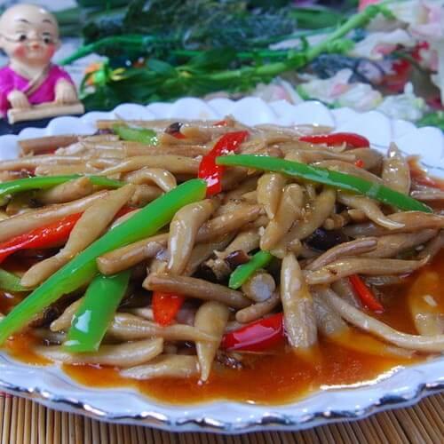 家常蒜苔炒蘑菇