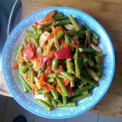 家常豇豆炒西红柿