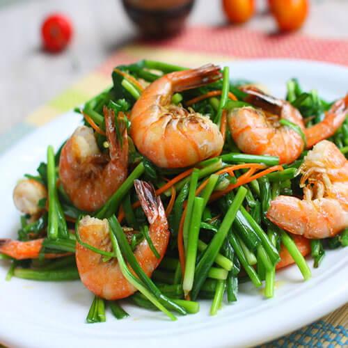 虾肉炒韭菜