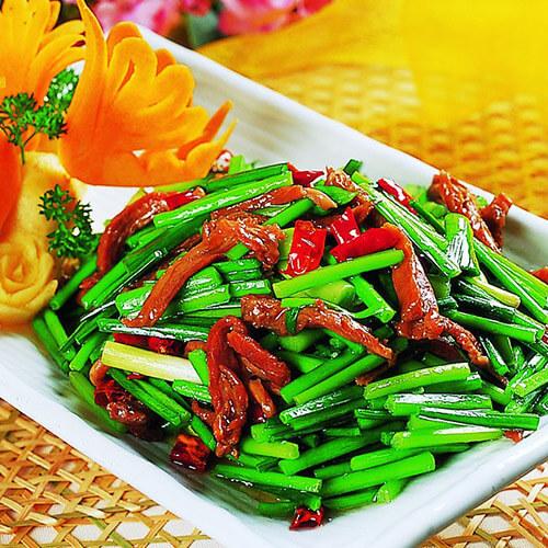 口感好的韭菜苔炒肉