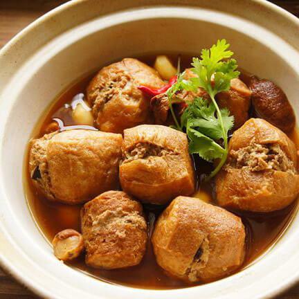 传统名菜油豆腐镶肉