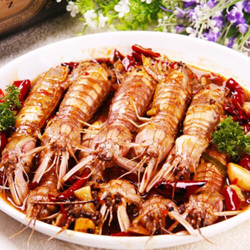 美味的香辣皮皮虾