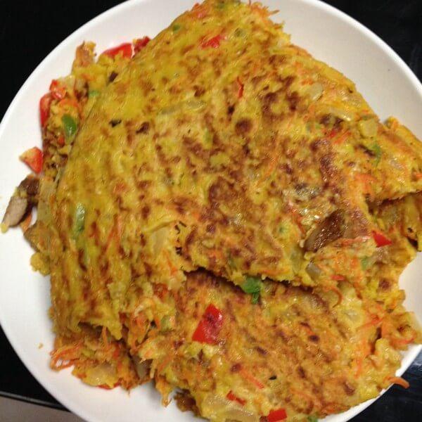 家常早餐:紫菜胡萝卜蛋饼