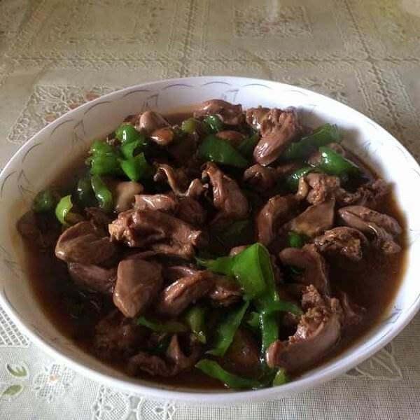 青椒炒鸡心