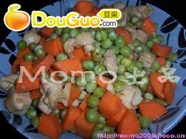 好吃的青豆红萝卜鸡丁