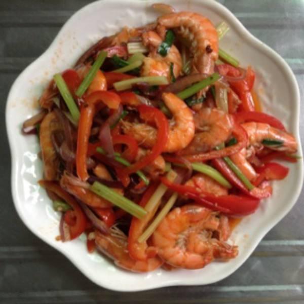 家常洋葱炒虾