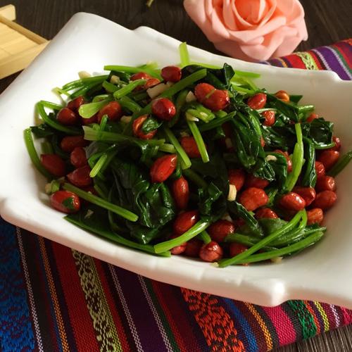 凉拌版果仁菠菜的做法