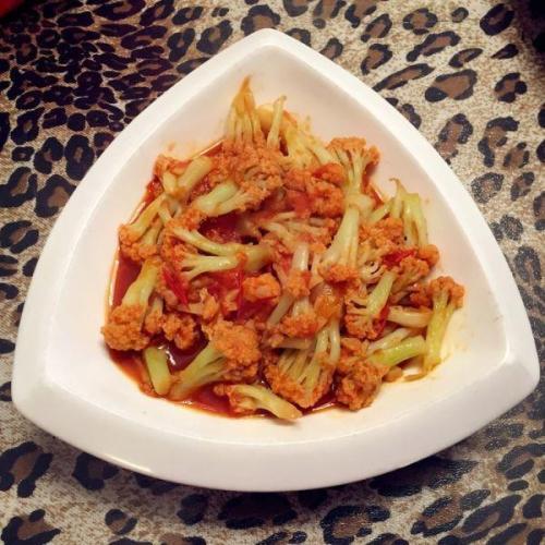 #美食派#番茄酱菜花的做法
