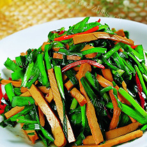 健康地址的淡菜炒韭菜