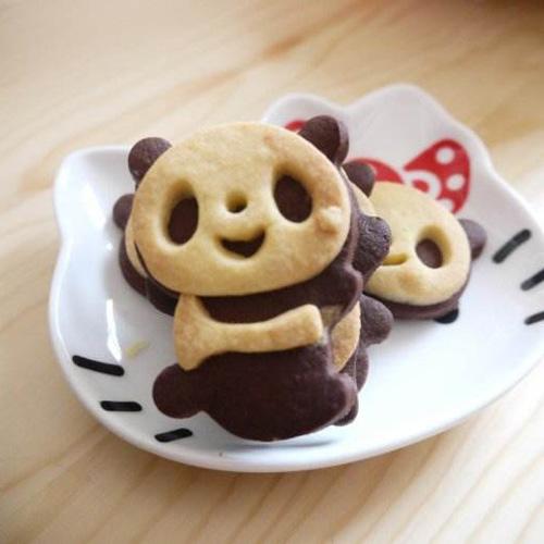 可爱诱人的熊猫饼干